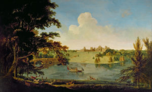 USB131833 Blenheim Palace (oil on canvas) by English School, (18th century); Chartwell, Kent, UK; (add.info.: garden laid out by Capability Brown in 1760s;); National Trust Photographic Library/Derrick E. Witty; PERMISSION REQUIRED FOR NON EDITORIAL USAGE; English, out of copyright PLEASE NOTE: Bridgeman Images works with the owner of this image to clear permission. If you wish to reproduce this image, please inform us so we can clear permission for you.